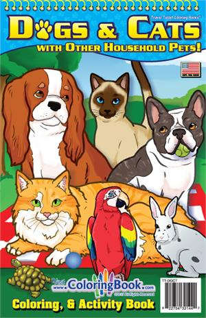 Dogs & Cats with Other Household Pets Coloring Book