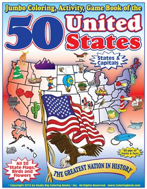 50 united states jumbo coloring activity game book